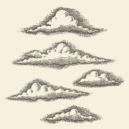 レトロな雲のベクトル図を彫刻手描きのスケッチ  イラスト・ベクター素材