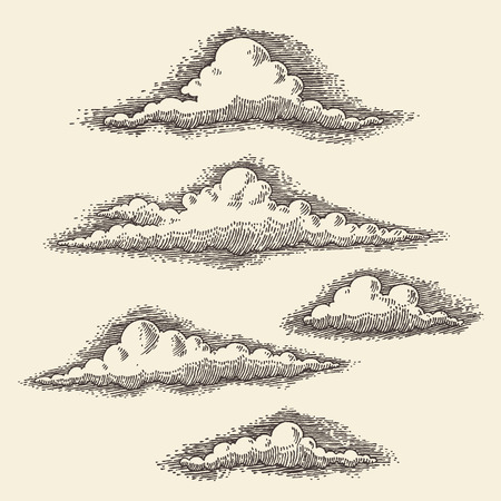 clouds scape: Retro clouds engraving vector illustration hand drawn sketch Illustration