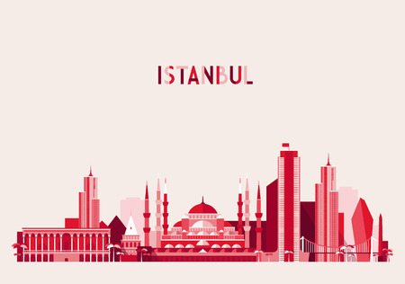 turkey istanbul: Istanbul City Turkey skyline detailed silhouette. Flat design, trendy vector illustration Illustration
