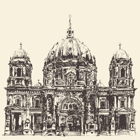 dom: Berlin Cathedral Berliner Dom Germany Hand drawn illustration Engraved style Illustration