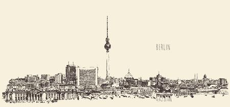 Berlin skyline silhouette of Berlin engrave vector illustration hand drawn Stock Illustratie
