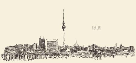 Berlin skyline silhouette of Berlin engrave vector illustration hand drawn Çizim