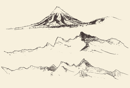 tirol: Mountains contours of the mountains engraving vector illustration hand drawn sketch