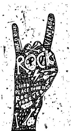 hard core: Hard rock poster Vintage Label Rock and Roll Style Typography Elements Illustration