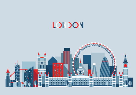city panorama: London, England city skyline vector. Flat trendy illustration