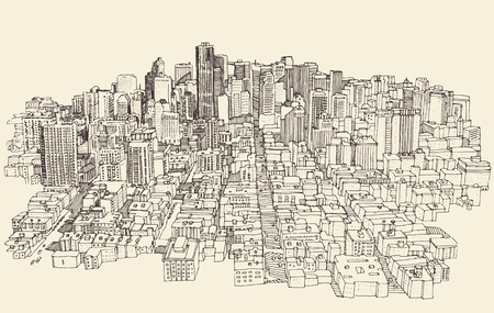 uptown: Big city Architecture Engraved Illustration Hand Drawn Sketch