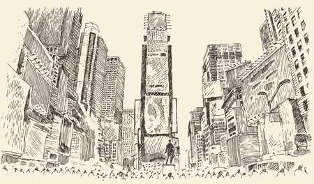 new york city times square: Times Square Street in New York City Engraving Vector illustration hand drawn Illustration