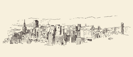 francisco: San Francisco big city architecture vintage engraved illustration hand drawn sketch