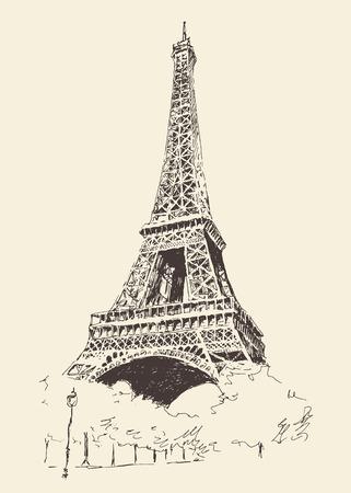 Eiffel Tower Paris France architecture vintage engraved illustration hand drawn