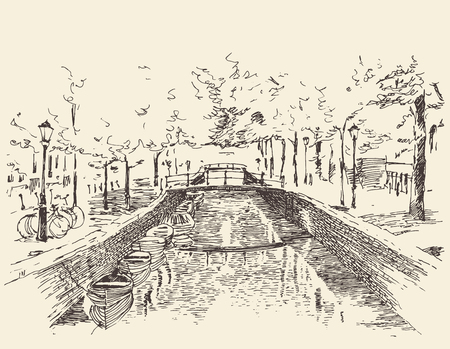 historical: Amsterdam city architecture vintage engraved illustration hand drawn