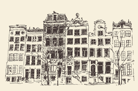 ancestry: Amsterdam city architecture vintage engraved illustration hand drawn