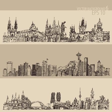 engraving print: City set Prague, Toronto, Seattle big city architecture vintage engraved illustration hand drawn sketch