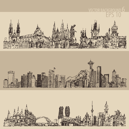 City set Prague, Toronto, Seattle big city architecture vintage engraved illustration hand drawn sketch