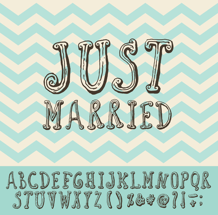 hitched: Just married over vintage trendy chevron background vector illustration with full alphabet Illustration
