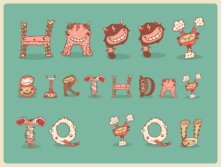 freaky: Happy birthday card postcard freaky funny cute vector Illustration