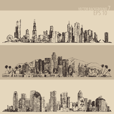 chicago skyline: Chicago Los Angeles Houston big city architecture vintage engraved illustration hand drawn sketch Illustration