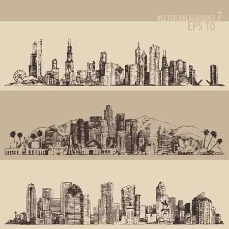 boceto: Ilustraci�n grabada boceto dibujado a mano Los Angeles Chicago Houston gran ciudad arquitectura de �poca
