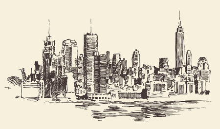 manhattan skyline: New York city architecture, vintage engraved illustration, hand drawn