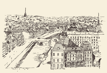 antiquity: Streets in Paris France Vintage illustration hand drawn