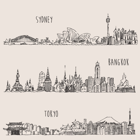 australia landscape: Sydney Bangkok Tokyo big city architecture vintage engraved illustration hand drawn sketch Illustration