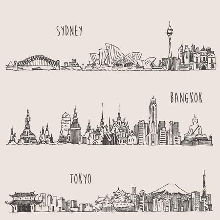 dessin: Sydney Bangkok Tokyo grande ville architecture d'époque croquis dessinés à la main illustration gravée