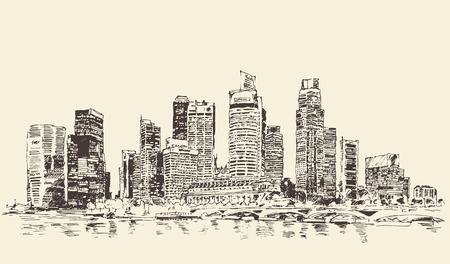 bocetos de personas: Boceto dibujado Singapur gran ciudad configuración cosecha ilustración grabada mano República de Singapur