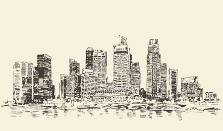 building sketch: Singapore big city architecture vintage engraved illustration hand drawn sketch Republic of Singapore