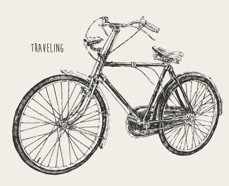 racing bicycle: Bicycle high detail traveling engraving vintage vector illustration hand drawn