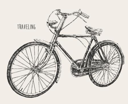 Tirée de vélos haut niveau de détail Gravure voyager vecteur vintage illustration main Vecteurs