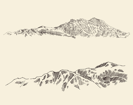 montagna: Montagne contorni dello schizzo disegnato montagne incisione illustrazione vettoriale mano