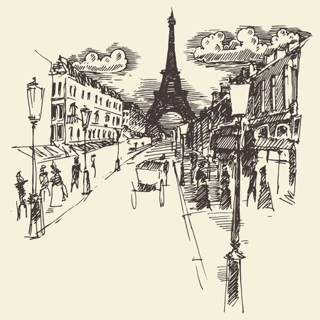 town: Streets in Paris France vintage engraved illustration hand drawn