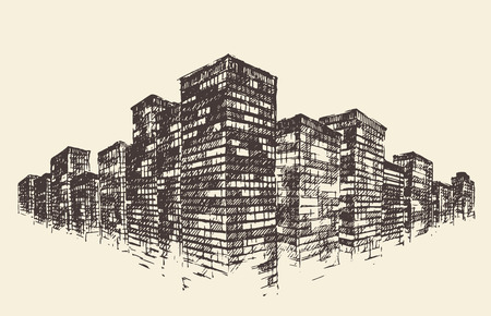 Big City Concept Architecture Engraved Illustration hand drawn sketch Ilustração