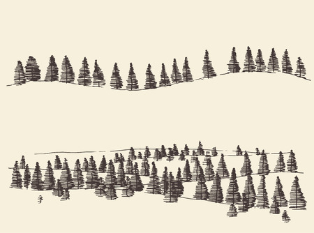 tirol: Mountains with fir forest contours of the mountains engraving vector illustration hand drawn sketch Illustration