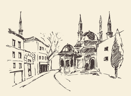 constantinople ancient: Istanbul Turkey city architecture harbor vintage engraved illustration hand drawn sketch Illustration