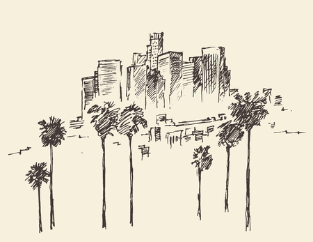 voyage vintage: Los Angeles Californie main horizon de style gravé vecteur illustration tirée