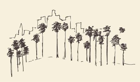 angeles: Los Angeles California skyline engraved style hand drawn vector illustration