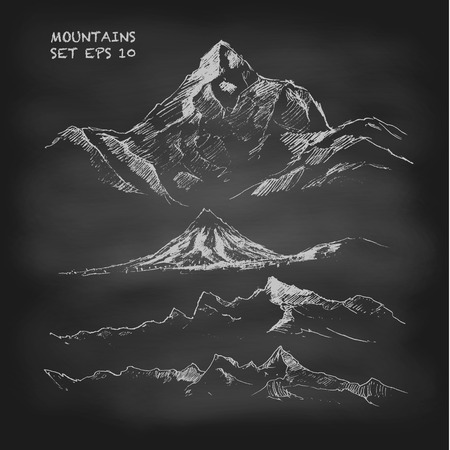 Hand drawn vector illustration Mountain set Vintage. Sketch. Chalkboard Illustration