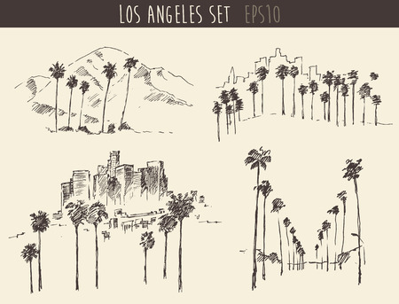 hollywood   california: Los Angeles California skyline engraved style hand drawn vector illustration
