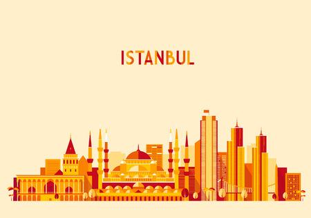 sultano: Istanbul City Turkey skyline silhouette dettagliata. Design piatto, trendy illustrazione vettoriale Vettoriali