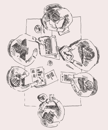 Business team meeting concept top view people on table sketch vector illustration