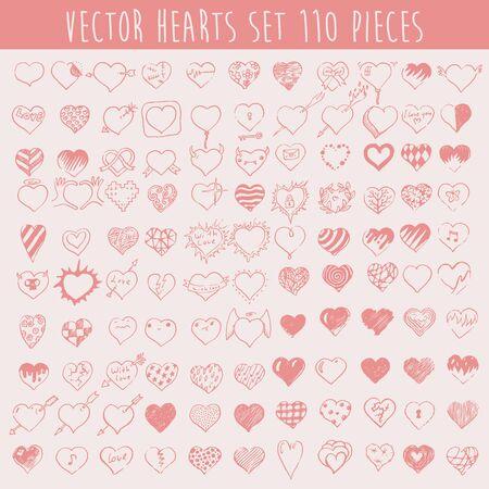 one hundred and ten: Conjunto de corazones del vector ciento diez piezas de elementos de dise�o Fondo de San Valent�n mano ilustraci�n vectorial dibujado Vectores