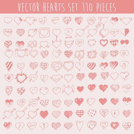 one hundred and ten: Set of vector hearts one hundred ten pieces design elements valentine background hand drawn vector illustration Illustration