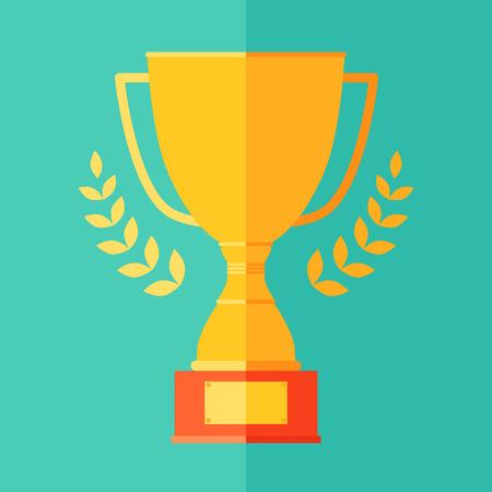 Vlakke icoon van de kampioen trofee cup overwinning succes concept winnen leiderschap vector illustratie in trendy kleuren
