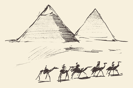 cairo: Pyramids in Cairo Egypt with caravan of camels vintage engraved illustration hand drawn