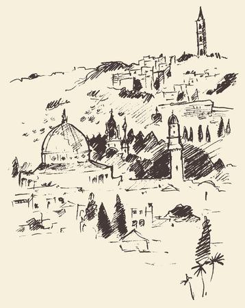 talmud: Jerusalem city view Israel vintage engraved vector illustration hand drawn