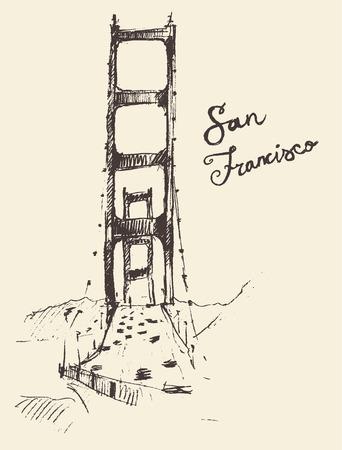 San Francisco 橋ヴィンテージ刻まれたイラストは手描きのスケッチ 写真素材 - 40979112