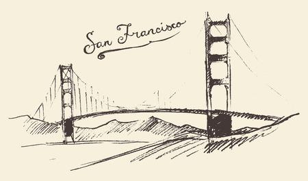 San Francisco 橋ヴィンテージ刻まれたイラストは手描きのスケッチ 写真素材 - 40979113