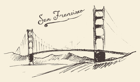 San Francisco bridge vintage engraved illustration hand drawn sketch
