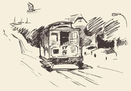 conveyances: Street with tram vintage engraved illustration hand drawn sketch