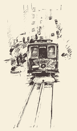 hand rails: Street with tram vintage engraved illustration hand drawn sketch